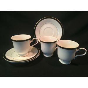 Mikasa Cup n Saucer Set in Black Tie Qty 3 (6 Pc)